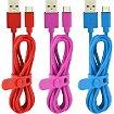 Câble micro USB Essentielb PVC MicroUSB: 3 x 1m triocolor