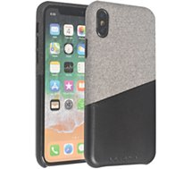 Coque Adeqwat  iPhone X/Xs Textile-Cuir gris clair