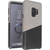 Coque Adeqwat Samsung S9 Textile-Cuir gris clair