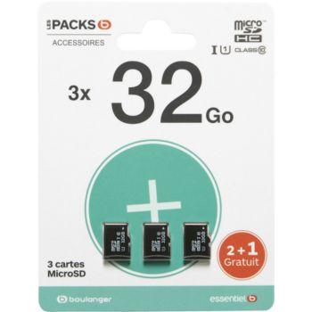 Essentielb Pack de 3 cartes micro SD 32Go