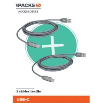 Adeqwat pack de 2 cables : 1m20 + 2m