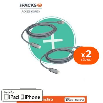 Adeqwat Pack de 2 cables 1m20 + 2m Anthracite