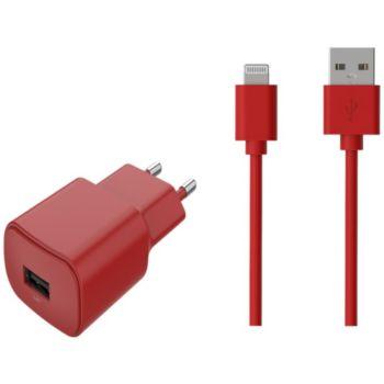 Essentielb 2.4A + lightning - Rouge