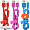 Câble Lightning Essentielb pack de 3 câbles Bleu Rouge Rose