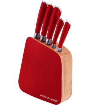 Arthur martin rouge 5 couteaux am399 couteau de cuisine - Trousse de couteaux de cuisine ...