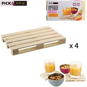 Sous-verre Pick And Drink Palette en bois lot de 4