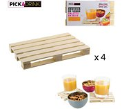 Pick And Drink Palette en bois lot de 4