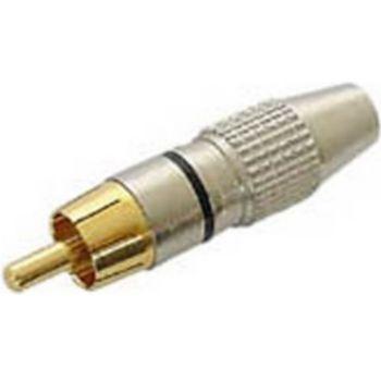 Conecticplus Connecteur RCA mâle argent noir