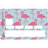 Sticker carte bleue Flamand rose