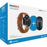 Montre connectée Huawei  Pack Watch GT 2 Marron 46mm+CM510B
