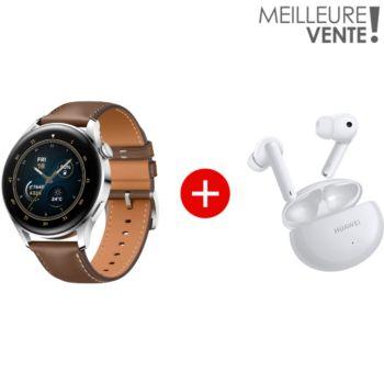 Huawei Pack Watch 3 Classic Marron+Freebuds 4i