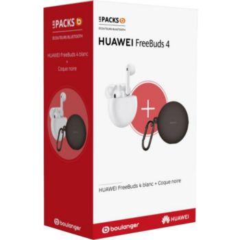 Huawei Freebuds 4 Ceramic White + coque noire