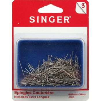 Singer Epingles couture nickelées extra longues