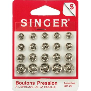 Singer Boutons pression assorties nickelés