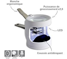 Coupe ongles Hestec  avec lampe et loupe intégrée