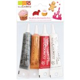 Décoration gâteau Scrapcooking  4 stylos or choco blanc rouge 4X20g