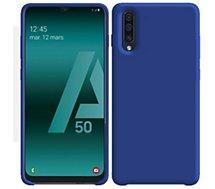 Coque Ibroz  Samsung A50 Liquid Silicone bleu marine