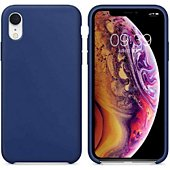 Coque Ibroz iPhone Xr Liquid Silicone bleu