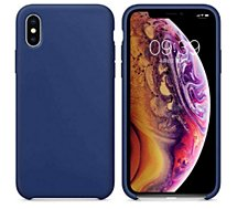 Coque Ibroz iPhone Xs Liquid Silicone bleu
