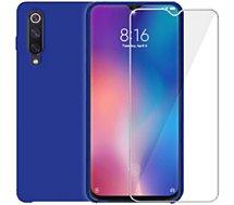 Pack Ibroz  Xiaomi Mi 9 SE Coque bleu + Verre trempé
