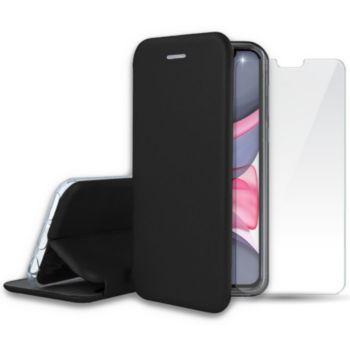 Ibroz iPhone 11 Etui cuir noir + Verre trempé