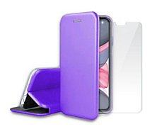 Pack Ibroz  iPhone 11 Etui cuir mauve + Verre trempé