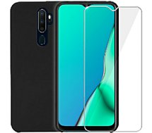 Pack Ibroz  Oppo A9 Coque Silicone noir