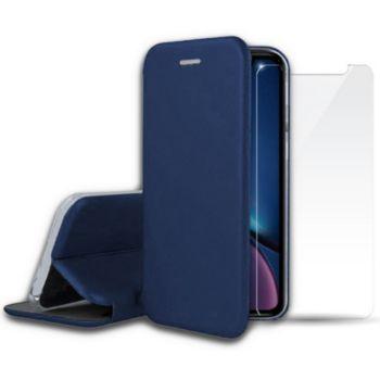 Ibroz iPhone Xr cuir bleu + Verre trempé