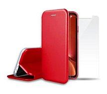 Pack Ibroz  iPhone Xr cuir rouge + Verre trempé
