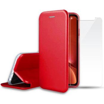 Ibroz iPhone Xr cuir rouge + Verre trempé
