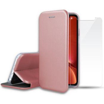 Ibroz iPhone Xr cuir rose gold + Verre trempé