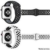 Bracelet Ibroz Apple Watch Sport 40mm noir + blanc x2