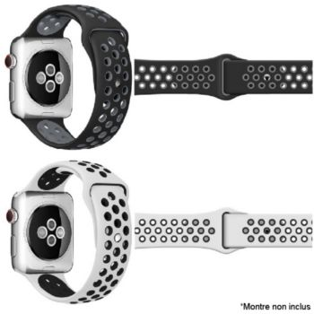 Ibroz Apple Watch Sport 40/41mm noir + blanc
