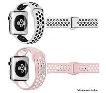 Bracelet Ibroz  Apple Watch Sport 40mm blanc + rose x2