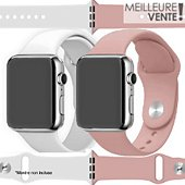 Bracelet Ibroz Apple Watch SoftTouch 40mm blanc+rose x2