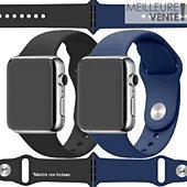 Bracelet Ibroz Apple Watch SoftTouch 40/41mm noir+bleu