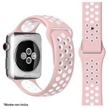 Ibroz Apple Watch Sport 42/44/45mm rose/blanc