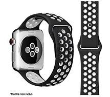 Bracelet Ibroz  Apple Watch Sport 42/44/45mm noir/blanc