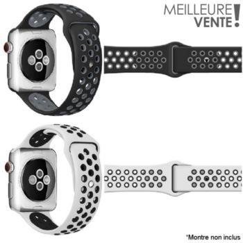 Ibroz Apple Watch Sport 44mm noir + blanc