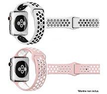 Bracelet Ibroz  Apple Watch Sport 44/45mm blanc+rose