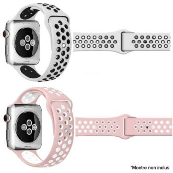Ibroz Apple Watch Sport 44mm blanc + rose