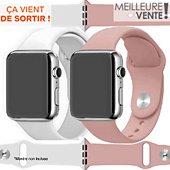 Bracelet Ibroz Apple Watch SoftTouch 44mm blanc+rose x2