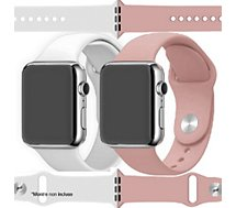Bracelet Ibroz  Apple Watch SoftTouch 44mm blanc+rose x2