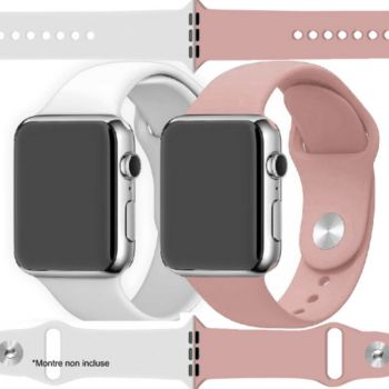 Ibroz Apple Watch SoftTouch 44/45mm blanc+rose