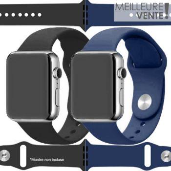 Ibroz Apple Watch SoftTouch 44mm noir+bleu x2