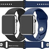 Bracelet Ibroz  Apple Watch SoftTouch 44mm noir+bleu x2