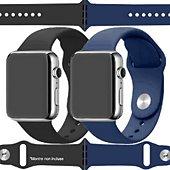Bracelet Ibroz Apple Watch SoftTouch 44mm noir+bleu x2