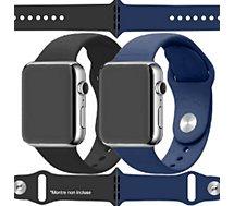 Bracelet Ibroz  Apple Watch SoftTouch 44/45mm noir+bleu