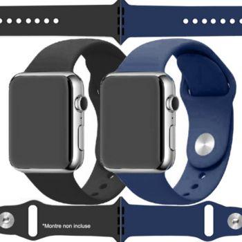 Ibroz Apple Watch SoftTouch 44/45mm noir+bleu