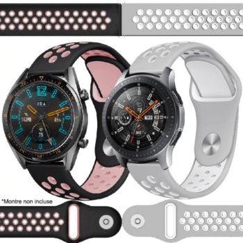 Ibroz Samsung/Huawei Sport 22mm noir+gris x2